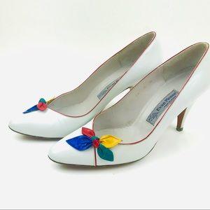 Vintage 80s rainbow bow pumps heels shoes Italian